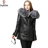Women Leather Jacket Winter Long Coat Plus Size 5XL Loose Parka Winter Big Fur Collar Hooded Women Coat Leather Parkas CH693