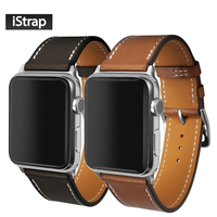IStrap Black Brown France Genuine Calf Leather For 38mm 42mm Apple Watch Handmade Stitch Strap For