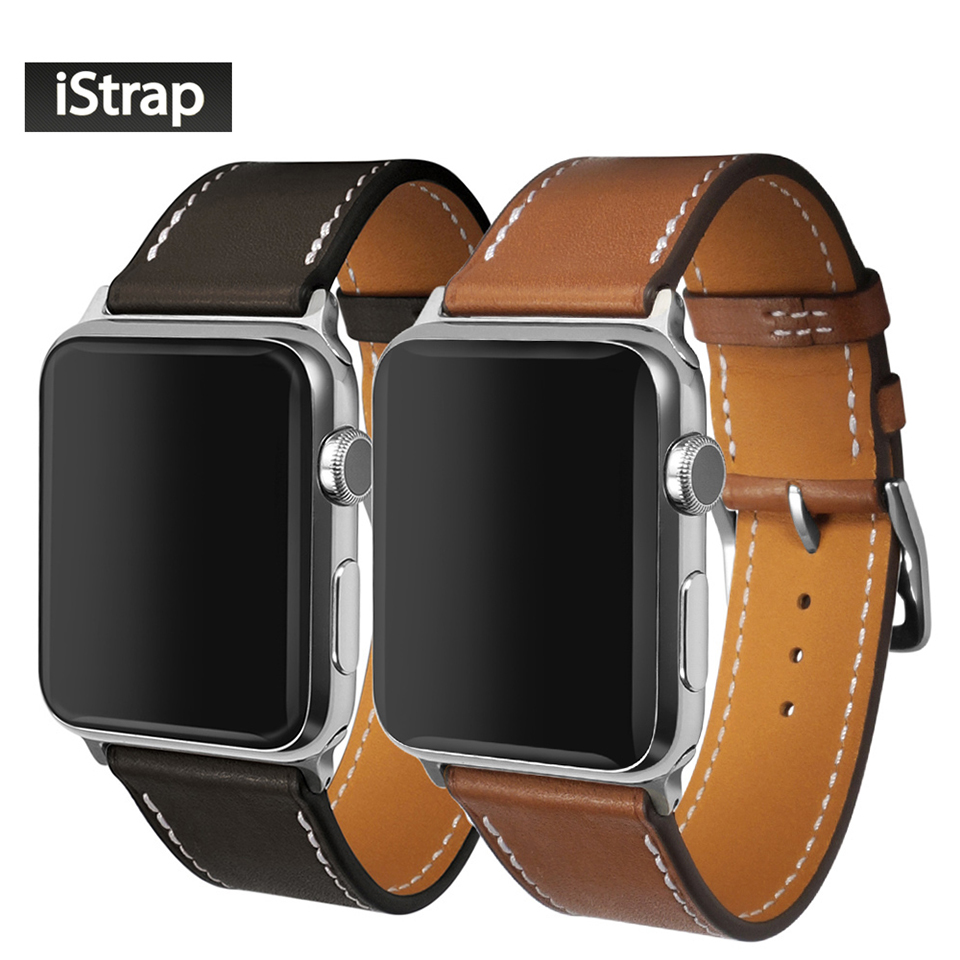 iStrap Black Brown France Genuine Calf Leather For 42mm Apple Watch Handmade Stitch Strap For Apple Watch Band 42mm istrap 22mm handmade genuine calf leather padded replacement watch band for men black 22