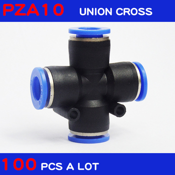 Free shipping 100Pcs a lot Air Pneumatic connectors 10mm x 10mm Cross Shaped Push in Connector Quick Fittings PZA10