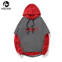 HZIJUE 2017 Autumn Winter Fake Two Pieces Men Stripe Hoodies Mens Streetwear Hoodie Hip Hop Pullover