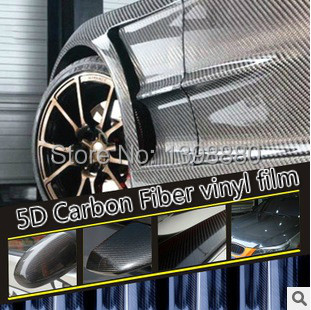 300mmX1520mm 5D Carbon Fiber vinyl film with bubble free bright Glossy 5D Carbon car warp sticker FREE SHIPPING
