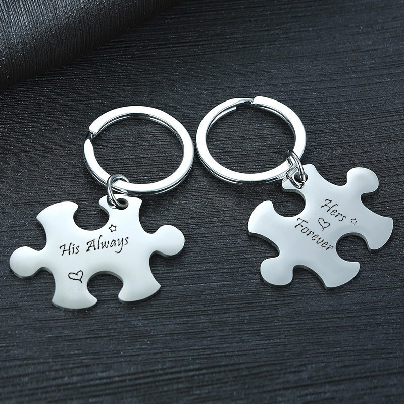 Personalized Key Chain Custom Puzzle KeyChain Set Key Circle Couple Key Chains Valentines Gifts