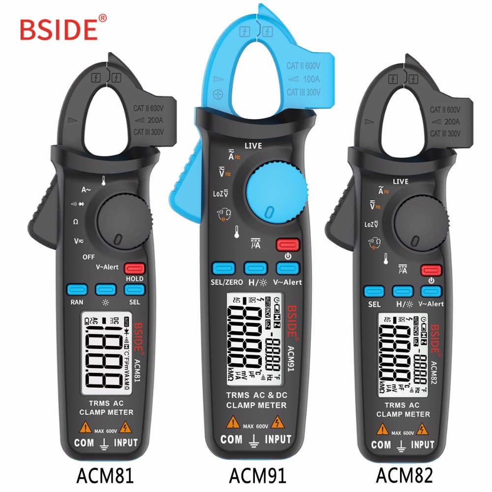BSIDE Digital de verdadero valor eficaz (RMS) abrazadera metros 1mA resolución DC/AC voltaje de corriente de Auto de la gama de mano multímetro electricista