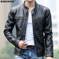 2016 New Men Slim Short Leather Jackets Men Stand Collar Coats Male Motorcycle Leather Jacket Solid Casual Brand Clothing TC455