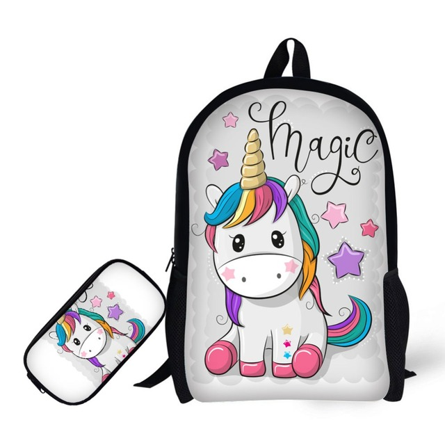 mochilas de unicornio  for Girls Pencil Case Unicorn Backpack Student Schoolbag Pencil Bag Learning Combination Mochila