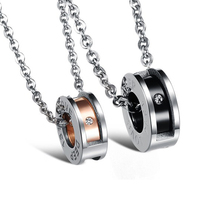 Hot Different Size Gift 316L Stainless Steel Black Plating Rose Gold Round And Inlaid Shinning Crystal