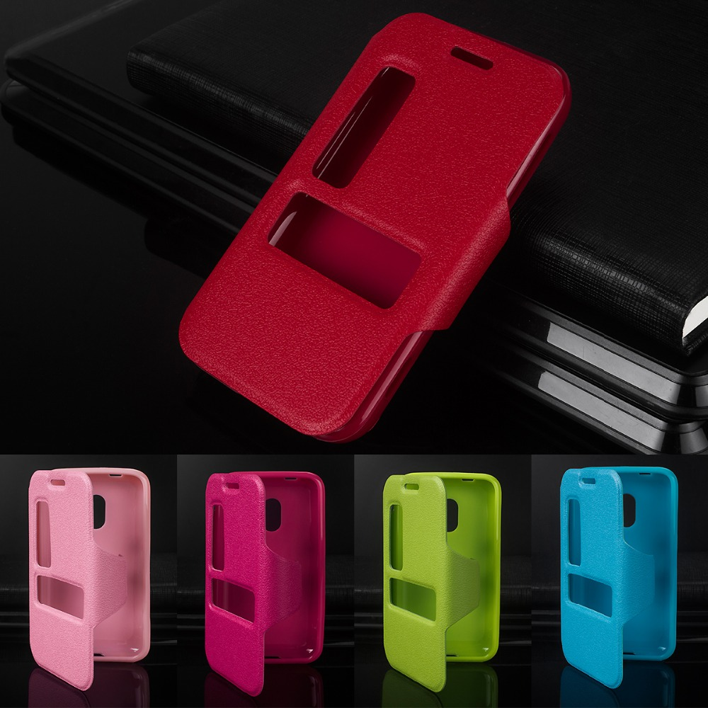 Luxury Case For Nokia Lumia 620 N620 Crazy Horse Pu Leather Magenta Double Window 38for Microsoft Cell