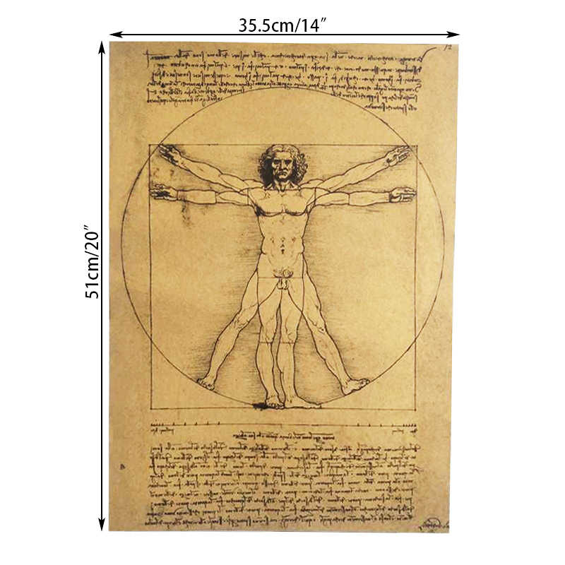 DLKKLB לאונרדו האדם הוויטרובי כתב היד כרזות נוסטלגי בציר Core קראפט נייר קיר מדבקה דקורטיבי ציור