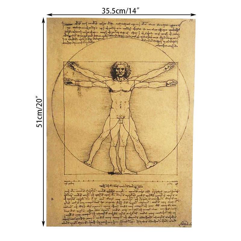 DLKKLB Leonardo Da Vinci Manuscript Vitruvian Man плакаты Ностальгический винтажный сердечник крафт-бумага стикер на стену декоративная живопись