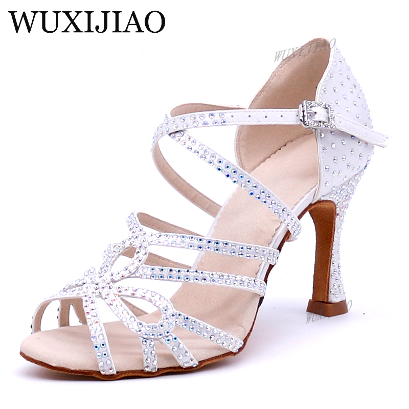 WUXIJIAO New Glitter Rhinestone Latin Dance Shoes Women Satin Salsa Dancing Shoes For Woman Tango Ballroom Shoes For Dacne