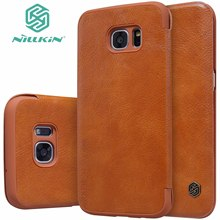Original NILLKIN Qin Series Wallet Cover Leather Case For Samsung Galaxy S7 S7 Edge Flip Phone Bags Case
