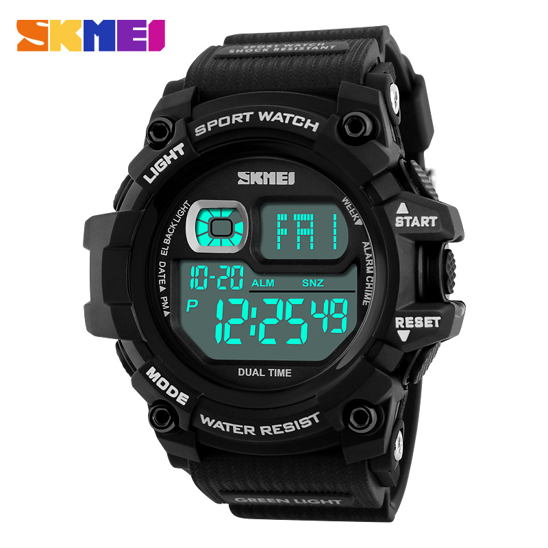 New SKMEI Brand 2018 Men Led Digital Watches Outdoor Sport Watch 50M Water Shock Resist Mens Military Wristwatches 1229
