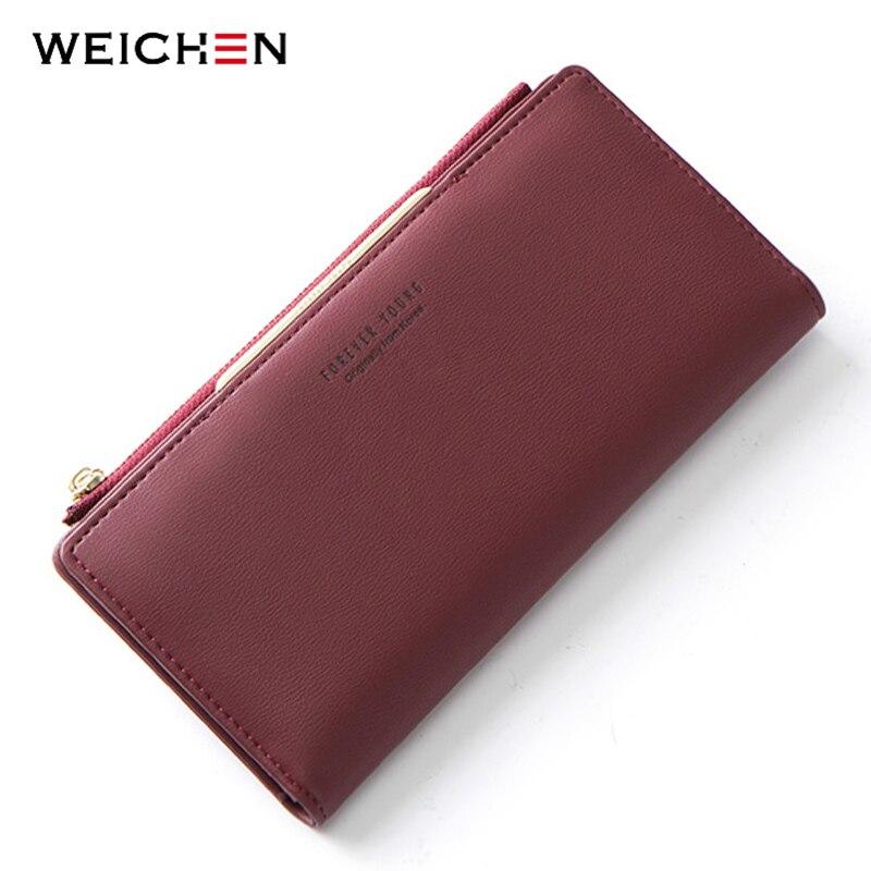 WEICHEN Frauen Brieftasche Zipper Münze & Handy Tasche Weibliche Brieftasche Karte Halter Damen Rot Kupplung Geldbörse Hohe Qualität
