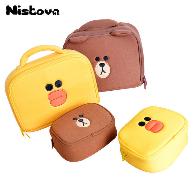 Cute Bear Mini Cosmetic Bags Cartoon Duck Girl's Make Up Bag Pouch Travel Makeup Tools Organizer Case Box Accessories Supplies