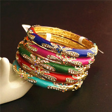 Thin Colour Rhinestone Enamel Bangle Bracelet Chinese Cloisonne Ethnic Bangles For Women Fashion Jewelry birthday Gift