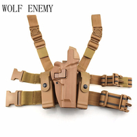 Tactical M92 Leg Holster Right Thigh Paddle Belt Level 3 Lock Duty Pistol Gun Holster W/ Magazine Torch Pouch for M9 M92
