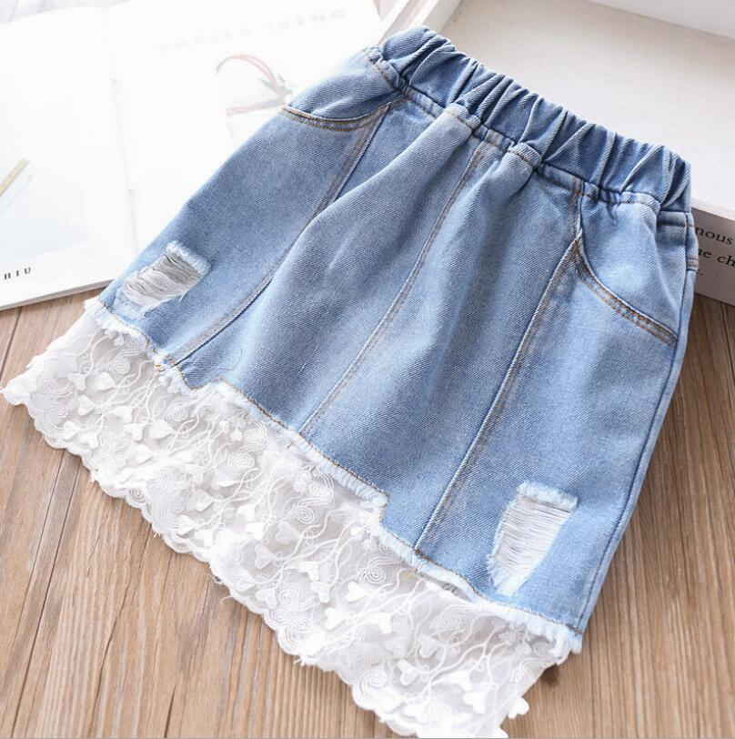 2019 Spring Jean Hole Lace Skirts For Girls Baby, Princess Kids Fashion Denim Skirts  Wholesale 5 pcs/lot, Free Shipping