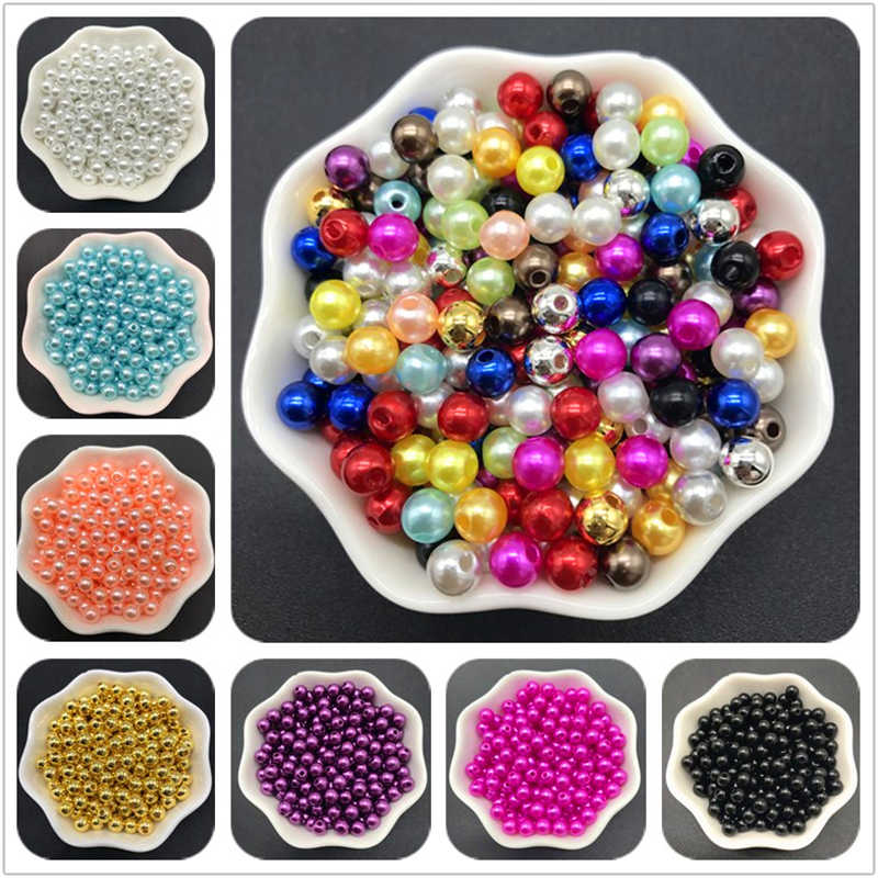 4mm 6mm 8mm 10mm Silver Gray Imitation Pearls Acrylic Beads Round Pearl Spacer Loose Beads For Jewelry Making