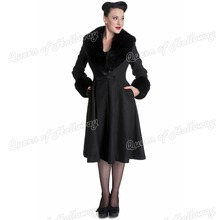 0126-1950s vintage pinup Retro Wool & Blends women trench coat outwear jacket with fur golilla for autumn winter UK8-24