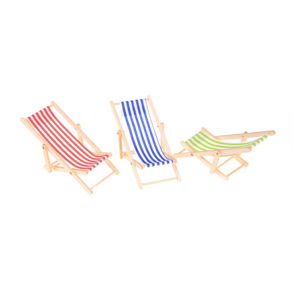 Mini Beach Lounge Chair Furniture Folding Stripe Deck