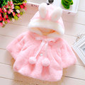 2016 New Winter Girl Coat Cape Shawl Warm Rabbit Ear Coral Velvet Infant Fashion Jacket Imitation Fur Baby Girls Kids Apparel
