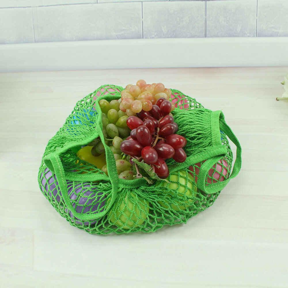 Herbruikbare Fruit Winkelen String Shopper Tote Mesh Geweven Opslag Schildpad Tassen Opvouwbare Mesh Netto Grote Capaciteit Kruidenier Handtas