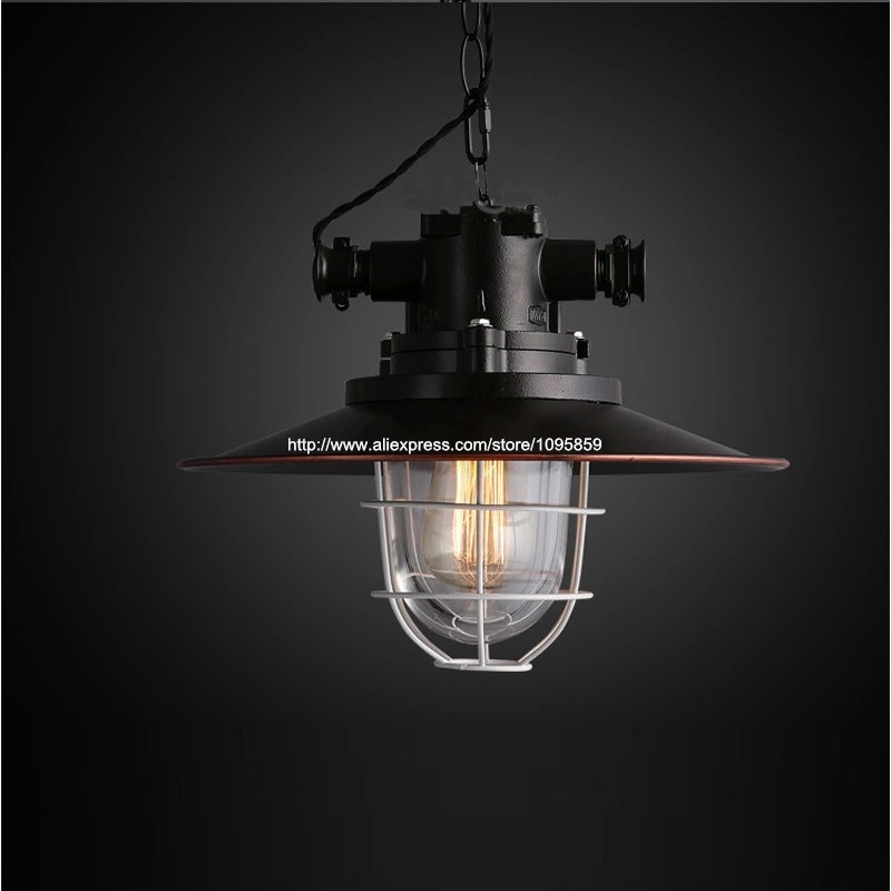 New Arrival Industrial Vintage Black Color Metal Cage Glass Pendant Light Lamp Bar Ceiling Fixtures Lighting art deco vintage industrial metal wire cage pendant light guard rustic ceiling mounted lamp cafe pub hotel porch bar