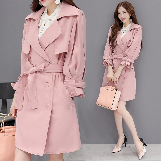 2XL New Women's Coat Autumn 2016 Fashion Elegant Solid color Adjustable Waist/Cuffs Loose Long Trench Slim Thin Outerwear Female