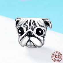 Hot Sale 925 Sterling Silver Cute Pug Dog Pet Animal Charm fit Original DIY Beads Bracelet Jewelry Making Gift FIC834