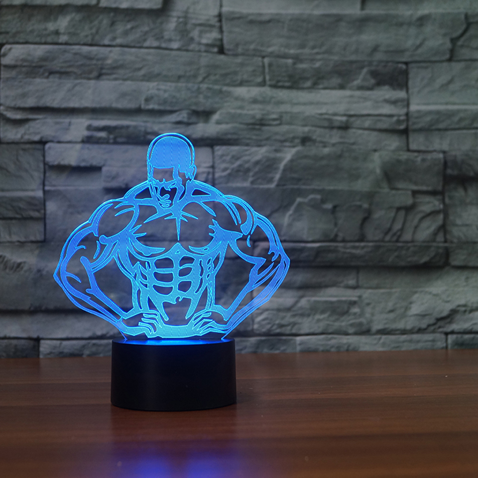 Creative 3D Muscle Strong Man Shape Vision LED NightLight 3D Lampara 7 Colors Bodybuilding Table Lamp Sleep Lighting Home Decor