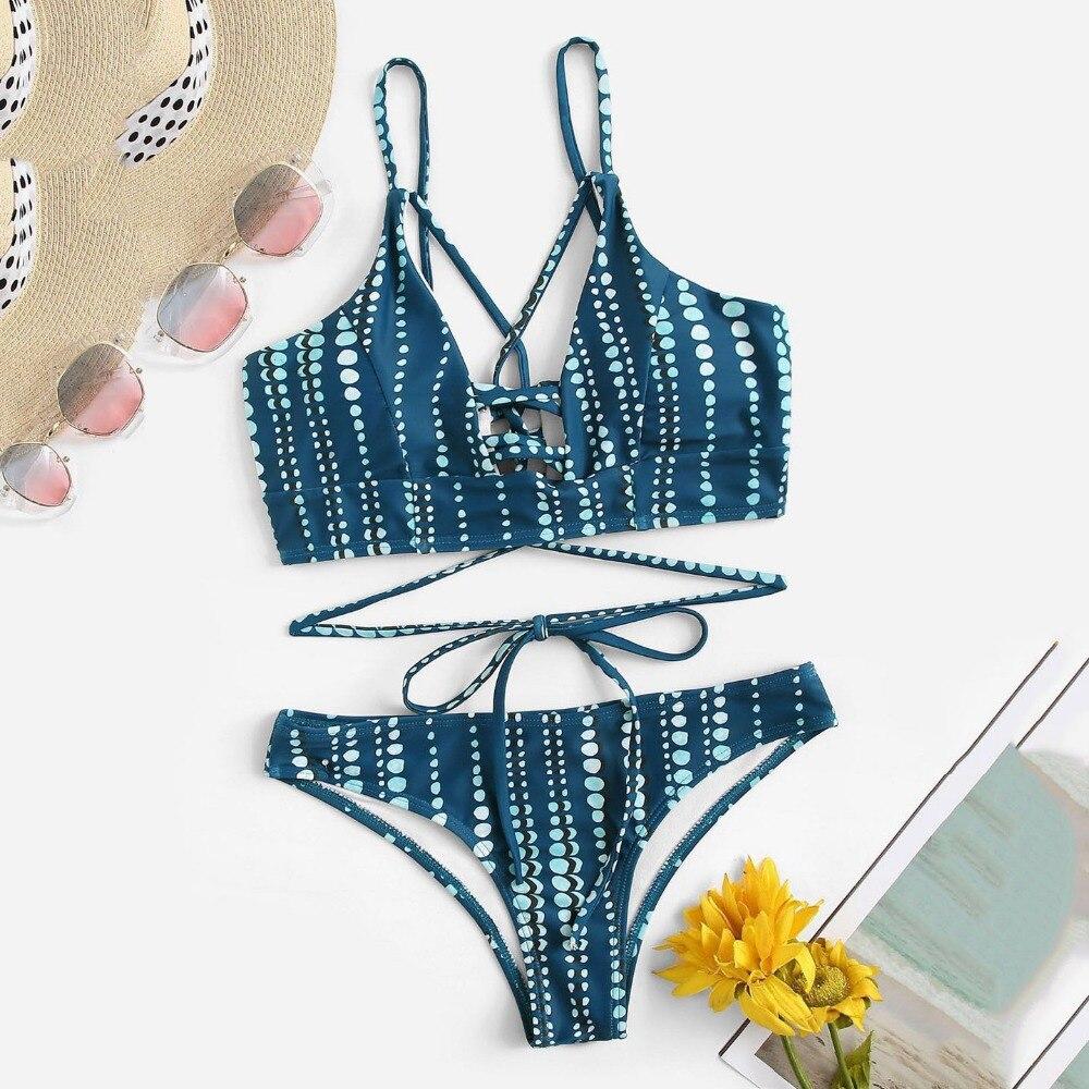 European Hot Bikini Authentic Split Chinese Made Striped Striped Swimsuit 15 Craft Beach Vacation Bikini Must-have Ladies Swimming