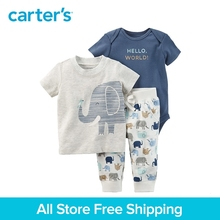 Carter s 3 Piece baby children kids clothing Boy Summer Elephant Babysoft Bodysuit Pant Set 127G895