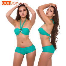 New Sexy Buckle Bikini Women Swimsuit Solid Color Halter Bandeau Swimwear S-2XL Girl Backless Bathing Suit Strappy Bikini Set women s stylish flounce halter hit color bikini swimwear
