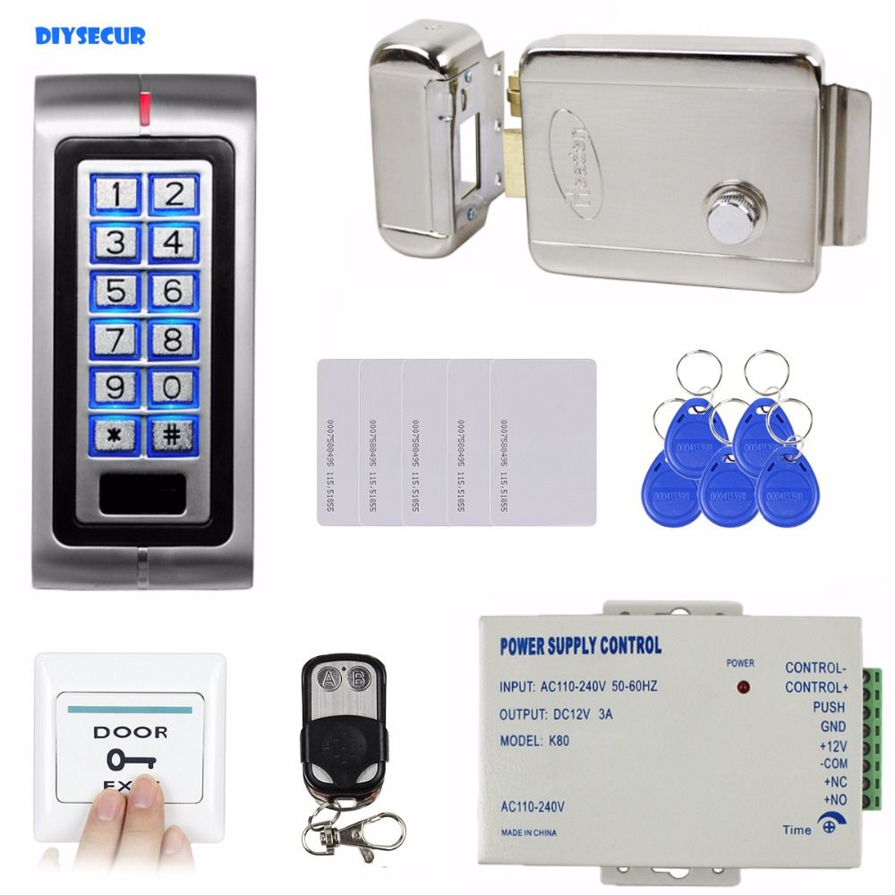 DIYSECUR RFID 125KHz ID Card Reader Access Control Kit Security System + Electronic Lock + Remote Control K2 leshp id card reader 125khz id card access control keypad kit access control system kit home office factory security