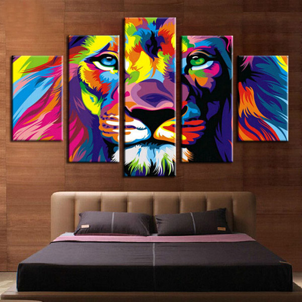 Home decoration printed oil painting canvas prints no frame 5 panel canvas painting colorful lion pop art dw01 in painting calligraphy from home garden
