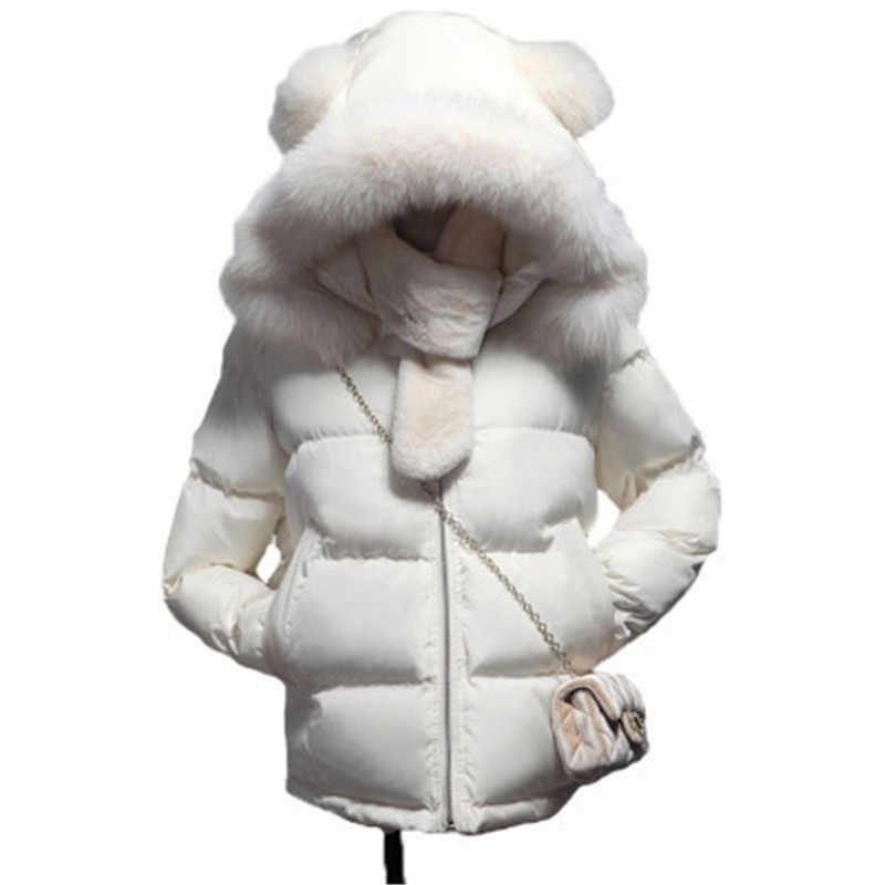 2019 nowy duży kołnierz damska kurtka zimowa Casual kurtka z kapturem Mujer bawełna płaszcz z podszewką wąska krótka damska dół kurtki rozmiar Plue