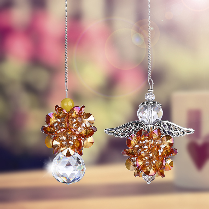 H&D 2pcs Hanging Chandelier Crystals Ball Prisms Fengshui Suncatcher Rainbow Angel Pendant Maker Car Charm (Champagne)