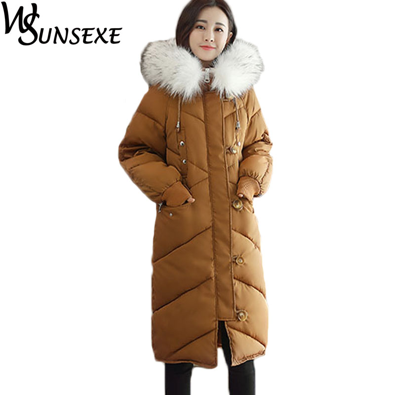 Faux Fur Hooded Collar Jacket Women Winter Warm Thicken Cotton Padded High Quality Single Breasted Zipper Long Sleeve Parka Coat winter jacket women 2017 mid long thicken warm cotton padded down parkas coat faux fur collar hooded jacket for girl