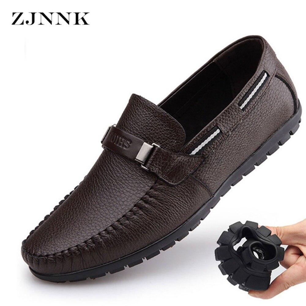 17f75838b جلد طبيعي الصيف أحذية الرجال الشقق المتسكعون تنفس عارضة Chaussure أوم حقيقي  جلدي الرجال الأخفاف أحذية كبيرة الحجم