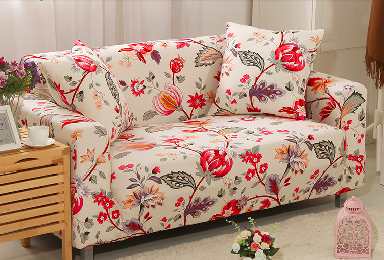 Spandex Stretch Colorful Flower Pattern Sofa Cover Big
