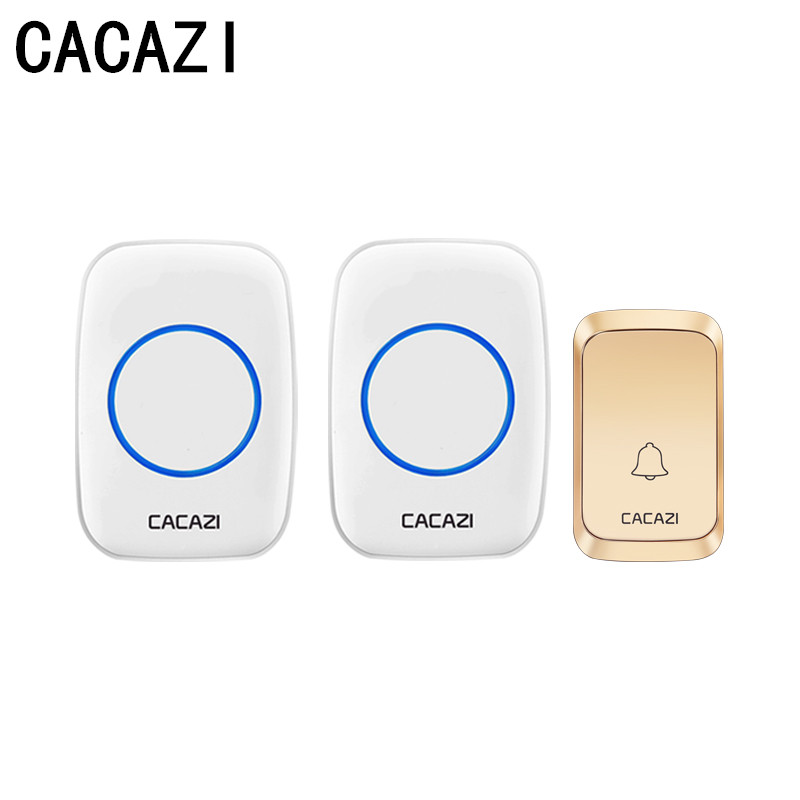 Cacazi Wireless Waterproof Doorbell Led Light Battery Button 58 Chime Home Cordless Calling Bell 300m Remote Control Rapid Heat Dissipation Doorbell