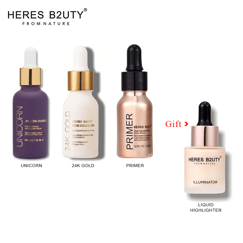 Buy 3 Get 4 Brand HERES B2UTY Unicorn Essence+24K Gold Infused Beauty Oil+High-Spreadability Fluid Primer PRIMER Makeup Set