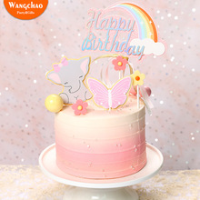 1 Set Cute Elephant Butterfly Flower Cake Topper Child Boy Girl Happy Birthday Cartoon Animal Decorations
