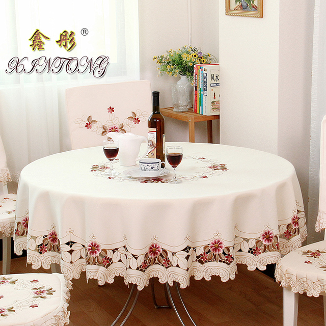 TY218 European Garden Embroidered Tablecloth Round Dining Table Cloth Tea  Cabinet Cover Decoration Elegant Home Textilecushion