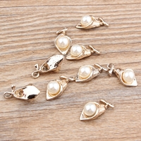 Fashion Alloy Charms 20PCs 10 18MM Gold Tone Alloy Round White Pearl Decoratd DIY Jewelry Findings