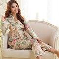 2017 Primavera e outono das mulheres-modelos de mangas compridas de tecido de algodão pijamas feminino Inglaterra floral rendas terno agasalho Especiais