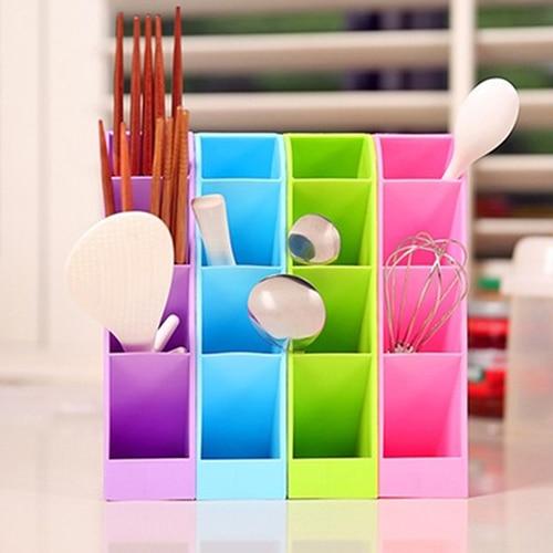 Multifunction Plastic Socks Tableware Organizer Storage Organizer 4 Grids Stand Box