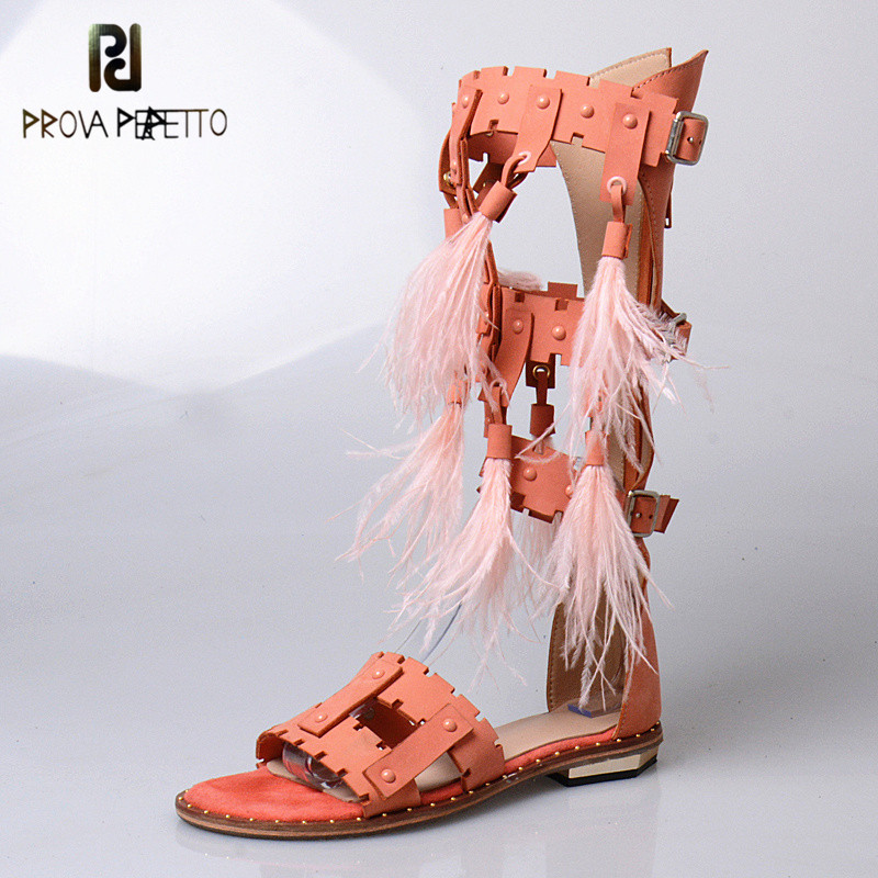 Prova Perfetto 2018 Summer Euramerican Sexy Open Toe Long Boot Sandals Woman Flat Buckle Strap Hollow out with Feather SandalsProva Perfetto 2018 Summer Euramerican Sexy Open Toe Long Boot Sandals Woman Flat Buckle Strap Hollow out with Feather Sandals