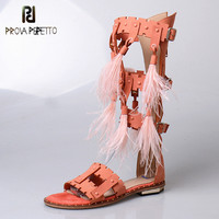Prova Perfetto 2018 Summer Euramerican Sexy Open Toe Long Boot Sandals Woman Flat Buckle Strap Hollow out with Feather Sandals